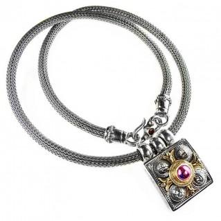 Gerochristo 3007 ~ Solid Gold & Sterling Silver ~ Byzantine-Medieval Gemstone Necklace