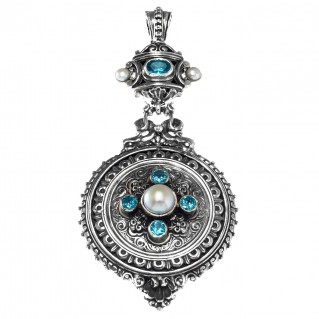 Gerochristo 3026N ~ Sterling Silver and Stones Medieval-Byzantine Large Pendant