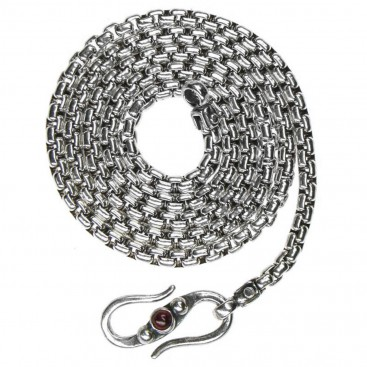 Gerochristo 3055 ~ Sterling Silver Byzantine Chain with Garnet