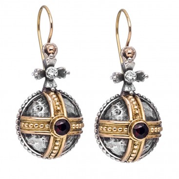Gerochristo 3063 ~ Solid 18K Gold, Sterling Silver & Garnet Medieval-Byzantine Earrings
