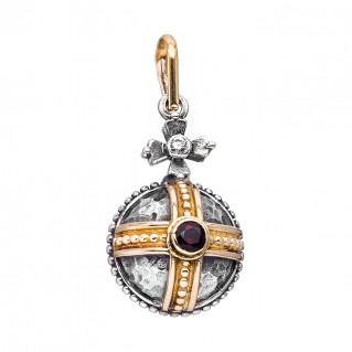 Gerochristo 3063 ~ Solid 18K Gold, Sterling Silver & Garnet Medieval-Byzantine Pendant