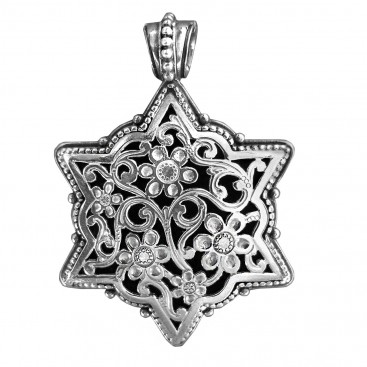 Gerochristo 3088N ~ Sterling Silver Medieval Byzantine Filigree Floral Pendant