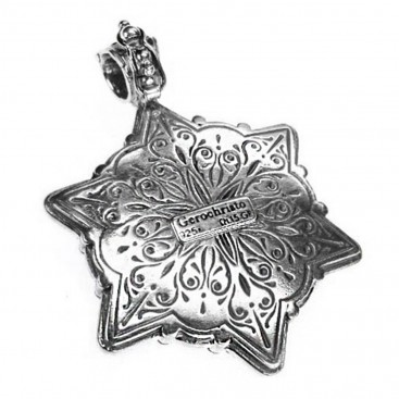Gerochristo 3088N ~ Sterling Silver Medieval Byzantine Filigree Floral Pendant