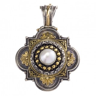 Gerochristo 3089 ~ Solid Gold, Silver & Central Stone - Medieval-Byzantine Pendant