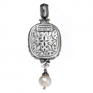 Gerochristo 3100N ~ Sterling Silver with Pearl Medieval-Byzantine Pendant