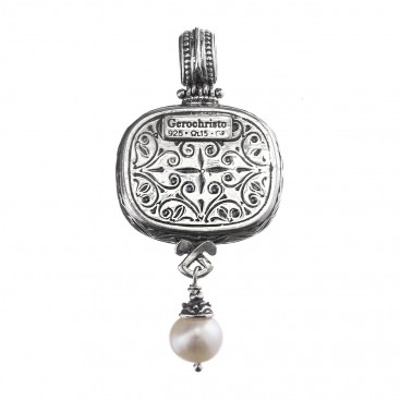 Gerochristo 3107N ~ Sterling Silver and Stones Medieval-Byzantine Pendant