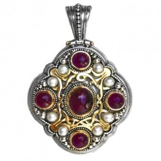 Gerochristo 3110 ~ Solid Gold, Silver & Stones Medieval Byzantine Large Pendant
