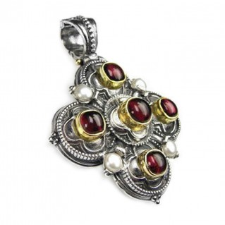Gerochristo 3112 ~ Solid Gold, Sterling Silver & Pearls Byzantine-Medieval Cross Pendant