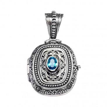 Gerochristo 3123N ~ Sterling Silver & Zircon - Medieval Byzantine Locket Pendant