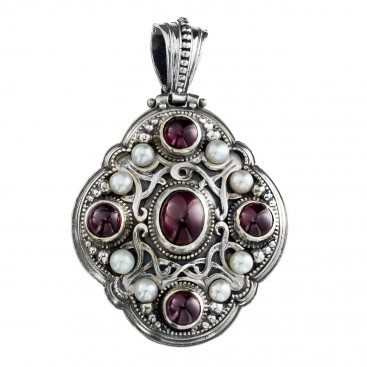 Gerochristo 3135 ~ Byzantine-Medieval Sterling Silver with Gemstones Pendant
