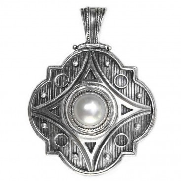 Gerochristo 3144 ~ Sterling Silver & Pearl Medieval-Byzantine Pendant - Large