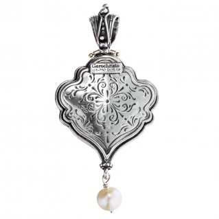 Gerochristo 3153 ~ Solid 18K Gold, Sterling Silver & Stones Byzantine-Medieval Pendant