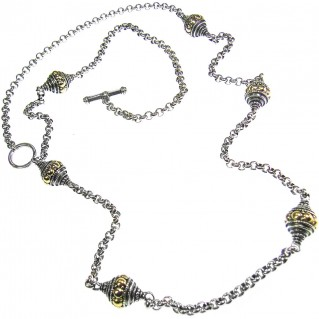 Gerochristo 3165 ~ Solid Gold & Silver ~ Byzantine Medieval Long Station Necklace