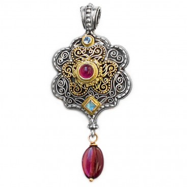 Gerochristo 3172 ~ Solid Gold, Sterling Silver & Stones Medieval Byzantine Large Pendant