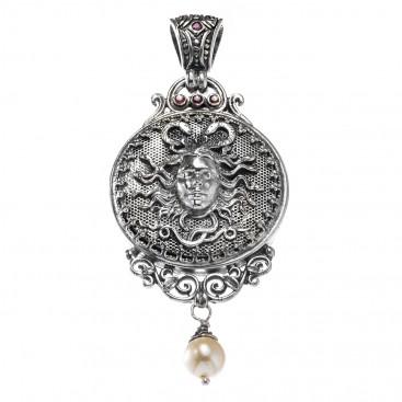 Gerochristo 3207N ~ Sterling Silver & Stones Medusa Large Pendant