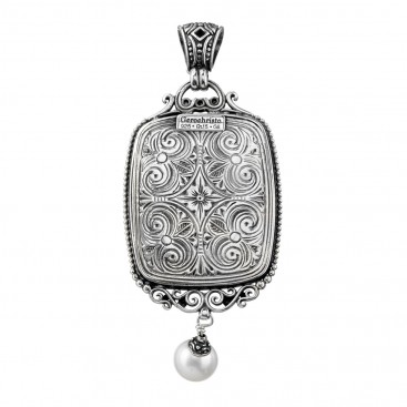 Gerochristo 3212N ~ Sterling Silver & Doublet Gemstone Medieval-Byzantine Large Pendant