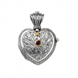 Gerochristo 3217N ~ Solid Gold & Sterling Silver Heart Locket Pendant