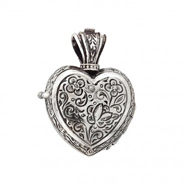 Gerochristo 3217N ~ Solid Gold & Sterling Silver Heart Locket Pendant