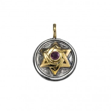 Gerochristo 1273 ~ Solid Gold & Sterling Silver Star of David Pendant