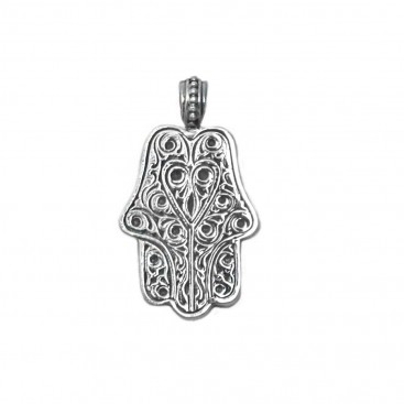 Gerochristo 3222 ~ Sterling Silver Hamsa Fatima Hand Amulet Pendant