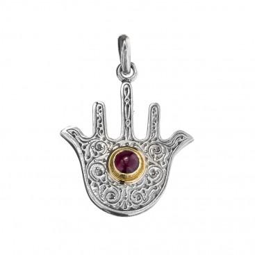 Gerochristo 3225N ~ Solid Gold & Silver - Doves Hamsa Fatima Hand Amulet Pendant