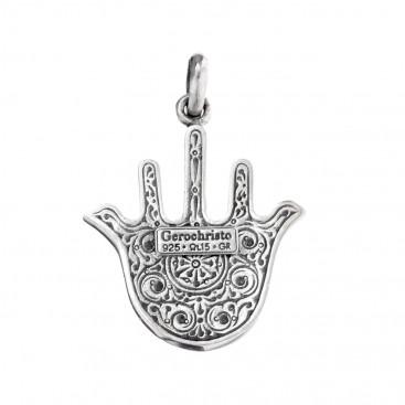 Gerochristo 3228N ~ Sterling Silver - Doves Hamsa Fatima Hand Amulet Pendant