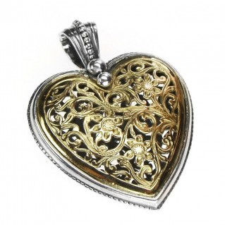Gerochristo 3237 ~ Solid 18K Gold & Sterling Silver - Large Filigree Heart Pendant