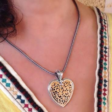 Gerochristo 3237 ~ Solid 18K Gold & Sterling Silver - Large Filigree Heart Pendant