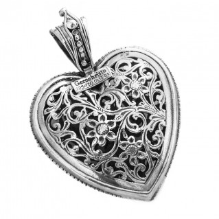 Gerochristo 3238 ~ Solid 18K Gold, Sterling Silver & Rubies - Large Filigree Heart Pendant