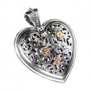 Gerochristo 3239 ~ Solid 18K Gold & Sterling Silver - Large Filigree Heart Pendant