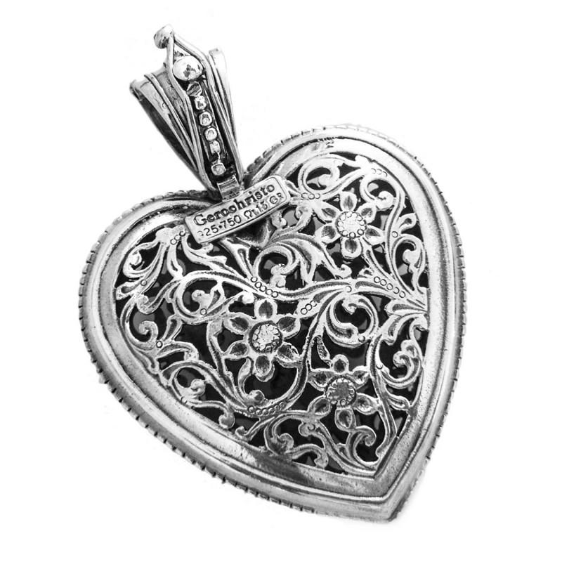 FB Jewels Solid Sterling Silver Filigree Heart Charm