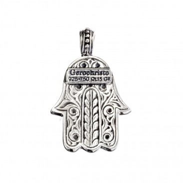 Gerochristo 3239N ~ Solid Gold & Sterling Silver Hamsa Fatima Hand with Ruby