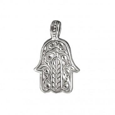 Gerochristo 3231 ~ Sterling Silver Hamsa Fatima Hand Amulet Pendant