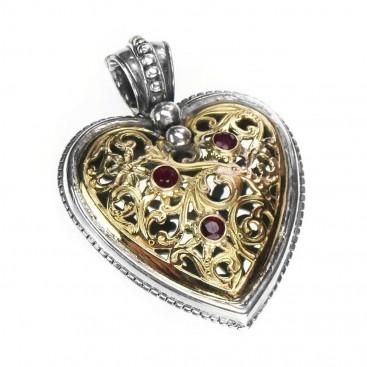 Gerochristo 3244 ~ Solid 18K Gold, Sterling Silver & Rubies - Filigree Heart Pendant
