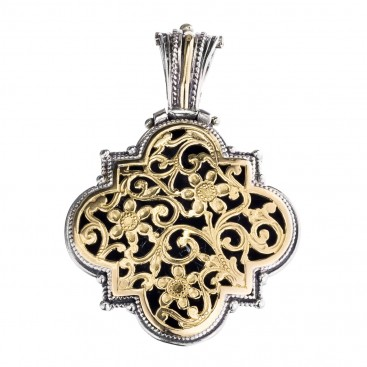 Gerochristo 3253 ~ Solid Gold & Silver Medieval Byzantine Filigree Pendant