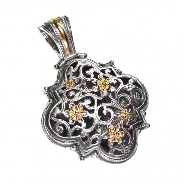 Gerochristo 3255 ~ Solid Gold & Silver Medieval Byzantine Filigree Pendant