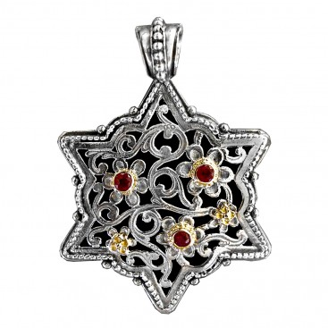 Gerochristo 3258 ~ Solid Gold, Silver & Rubies Medieval Byzantine Filigree Pendant