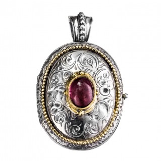 Gerochristo 3275 ~Solid Gold & Silver Engraved Oval Locket Pendant