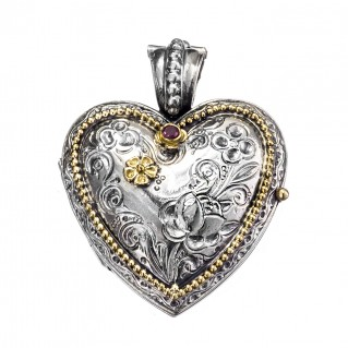 Gerochristo 3277 ~ Solid Gold, Sterling Silver & Ruby Engraved Heart Locket Pendant