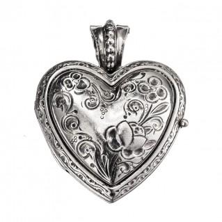 Gerochristo 3278 ~ Sterling Silver Engraved Heart Locket Pendant