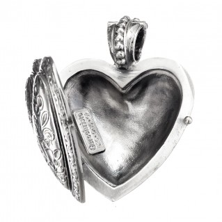 Gerochristo 3278 ~ Sterling Silver Engraved Heart Locket Pendant