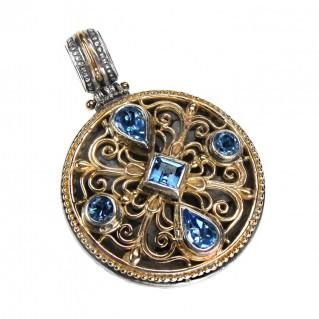 Gerochristo 3289 ~ Gold, Silver & Blue Topaz Medieval-Byzantine Pendant
