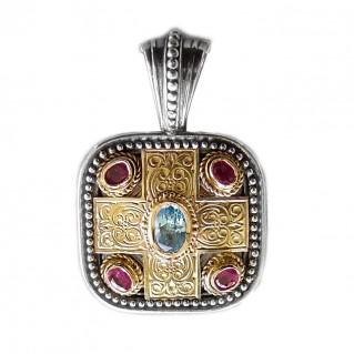 Gerochristo 3290 ~ Solid 18K Gold, Sterling Silver, Topaz & Rubies - Medieval-Byzantine Pendant