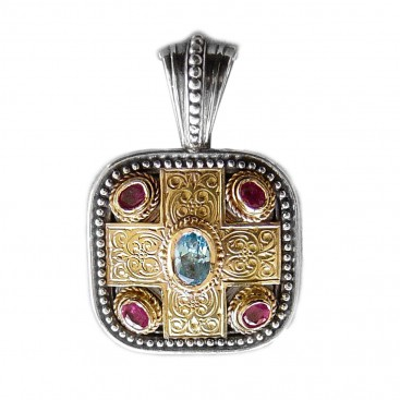 Gerochristo 3290 ~ Solid 18K Gold, Sterling Silver, Topaz & Rubies - Medieval-Byzantine Pendant