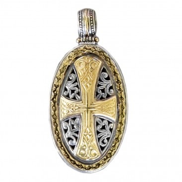 Gerochristo 3299 ~ Solid Gold & Sterling Silver - Medieval-Byzantine Cross Pendant