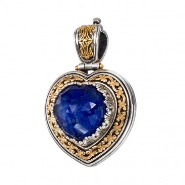Gerochristo 3301N ~ Solid Gold & Sterling Silver Heart Doublet Pendant with Lapis