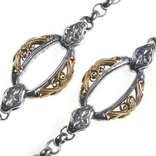 Gerochristo 3303 ~ Solid Gold & Silver ~ Byzantine Medieval Station Necklace