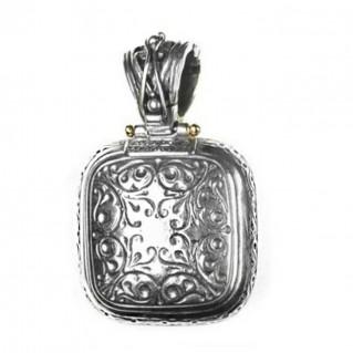 Gerochristo 3305 ~ Solid Gold, Silver & Stones Multicolor Medieval-Byzantine Pendant