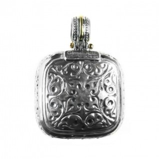 Gerochristo 3306 ~ Solid Gold, Sterling Silver & Rubies Medieval-Byzantine Pendant