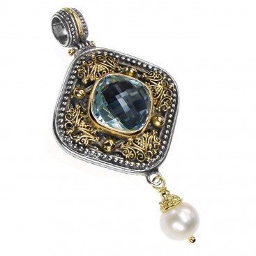 Gerochristo 3307 ~ Gold, Silver, Topaz & Pearl Drop Medieval-Byzantine Pendant